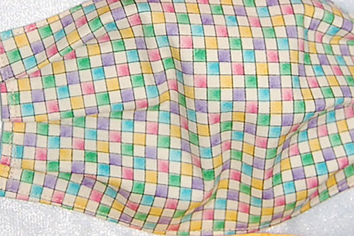 Pastel Checks child face covering