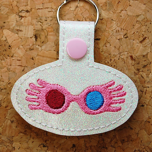 Wizard girl glasses snap tab key fob - pink/blue/white