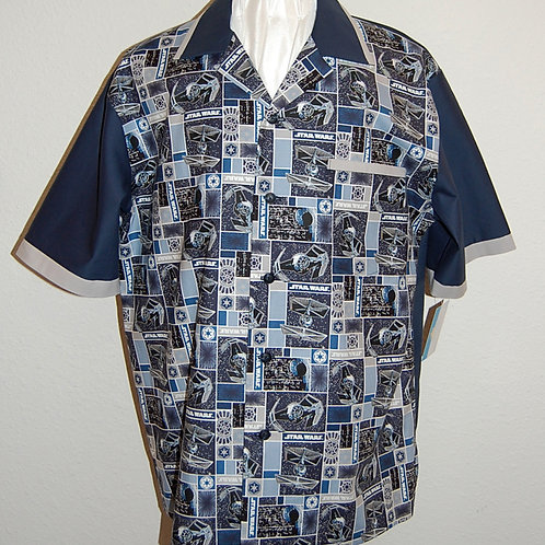 Shirt made with licensed Star Wars (blue block) cotton fabric