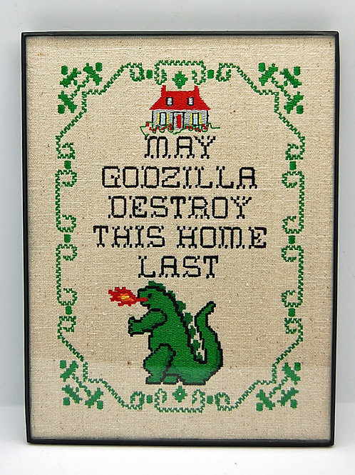"""""""May Godzilla Destroy This Home Last"""" - 6 x 8"""" framed embroidered art"""