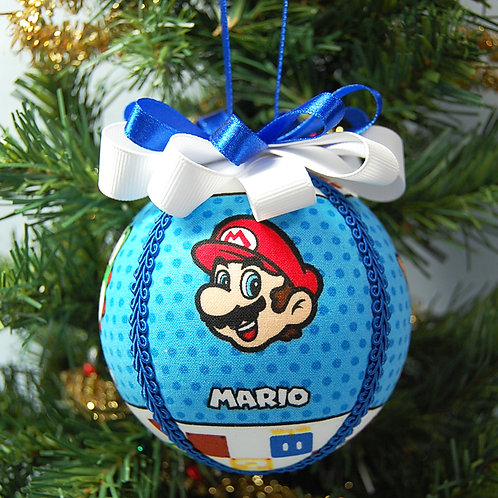 """Ornament made with licensed Mario Brothers fabric/styrofoam ball - 4"""""""