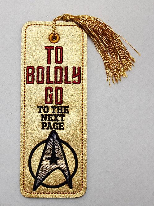 Star Explorer Boldly Go embroidered bookmark