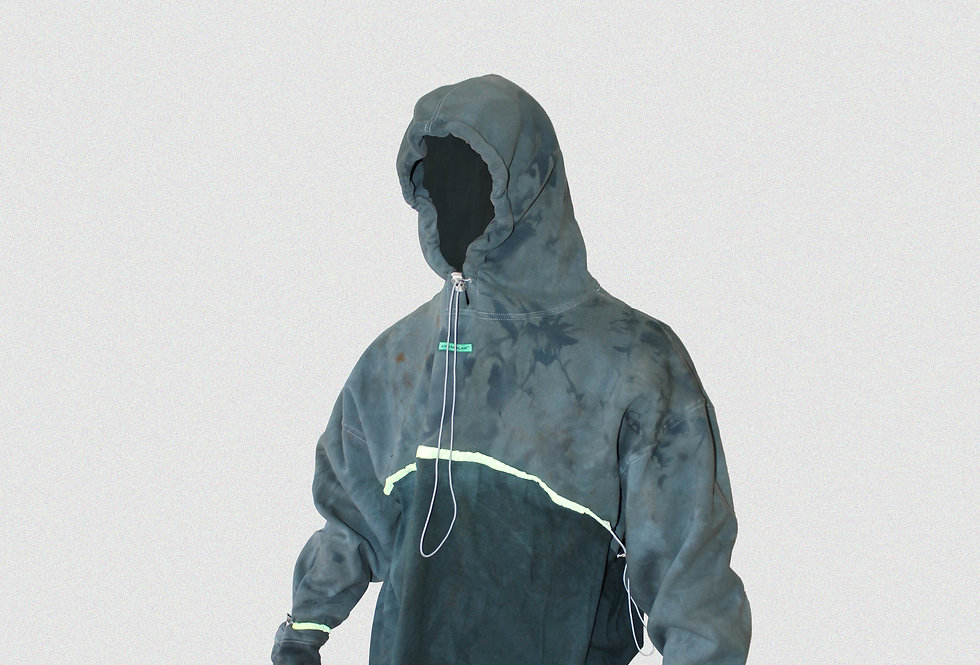 RECONSTRUCTED PROTOTYPE HAND-DYED HOODIE (1 OF 1)