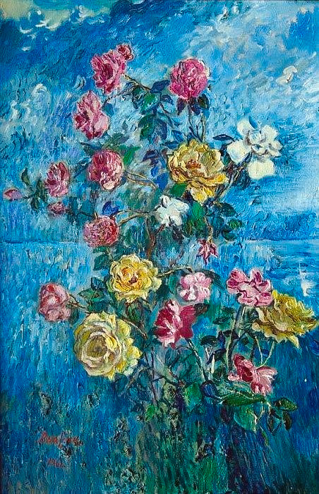 Floral Digital Art - Roses Near The Sea David Davidovich Burliuk by Eloisa Mannion