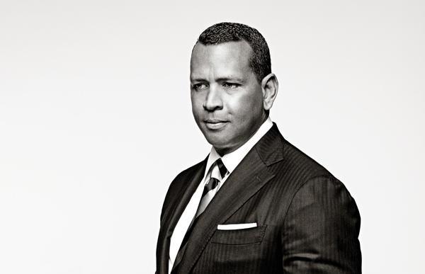 Alex Rodriguez posing in suit. Black & White image