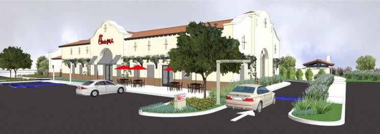 3d rendering of Chick-Fil-A's new location in San Clemente, CA.