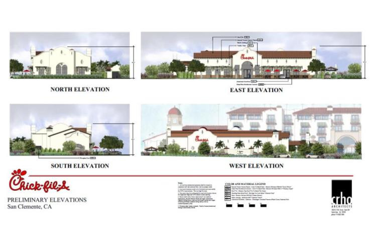 3D rendering of the exterior of the brand new Chick-Fil-A in San Clemente, CA
