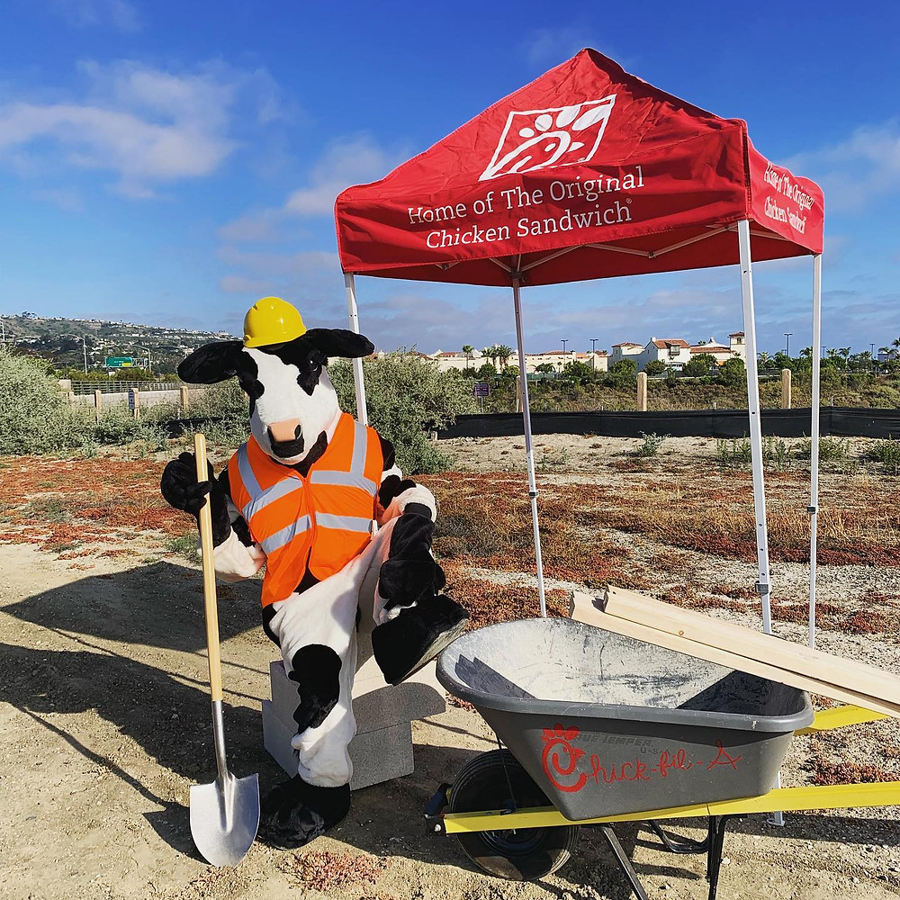 Chick-Fil-A cow holding a shovel in San Clemente, CA