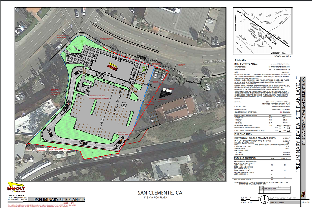 Aerial Site Plan for the new In-N-Out location in San Clemente on Via Pico Plaza