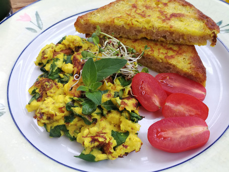 Easy Vegan French Toast and Scrambled Eggs
