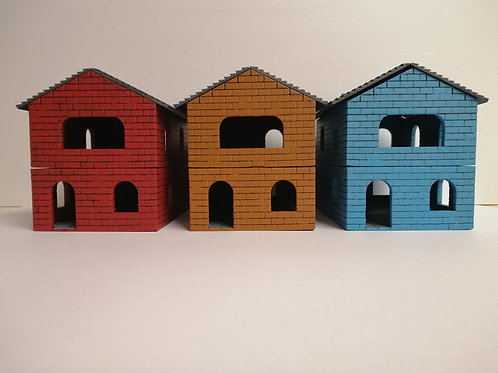 Set Of Three Row Houses - PLA painted