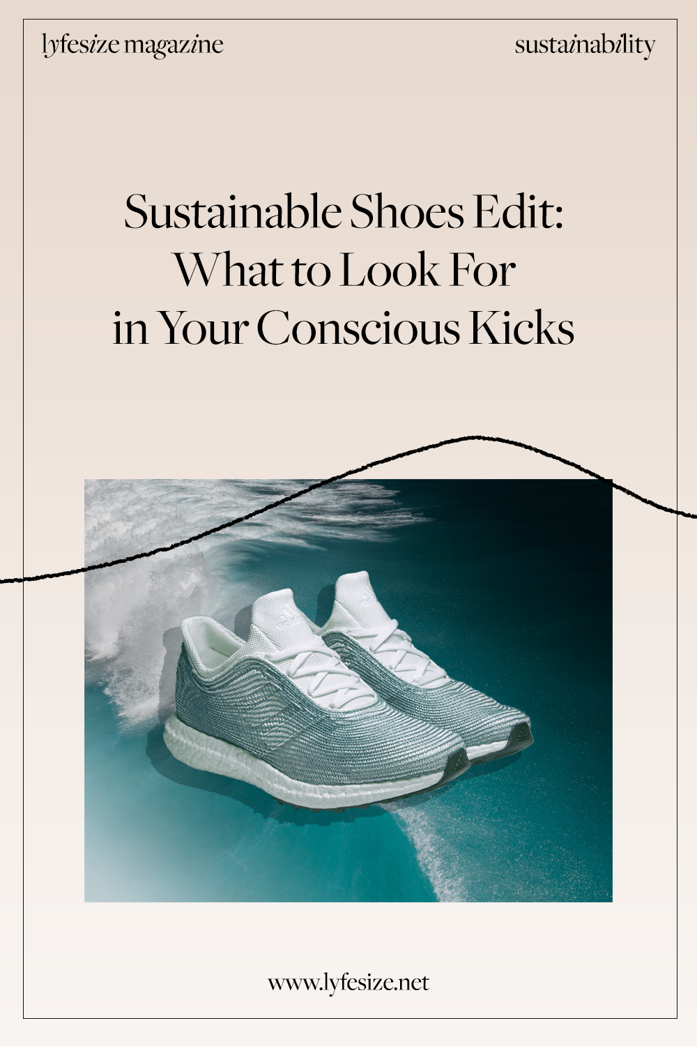 Pinterest post for sustainable shoes on Lyfesize