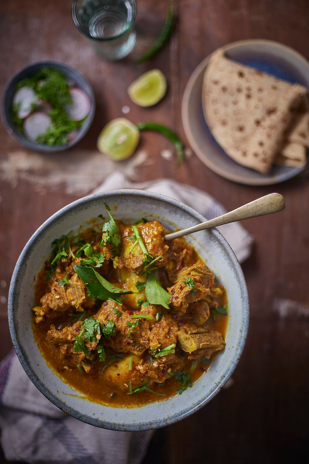 food photography and styling mutton curry