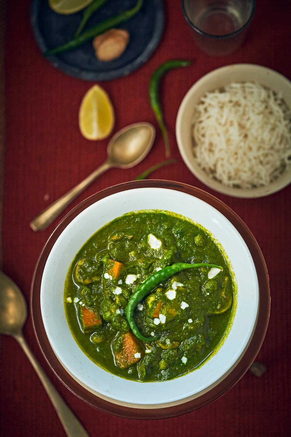 bowl of matar palak photography