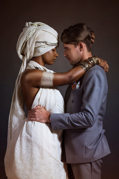 portrait of a black woman and  white guy