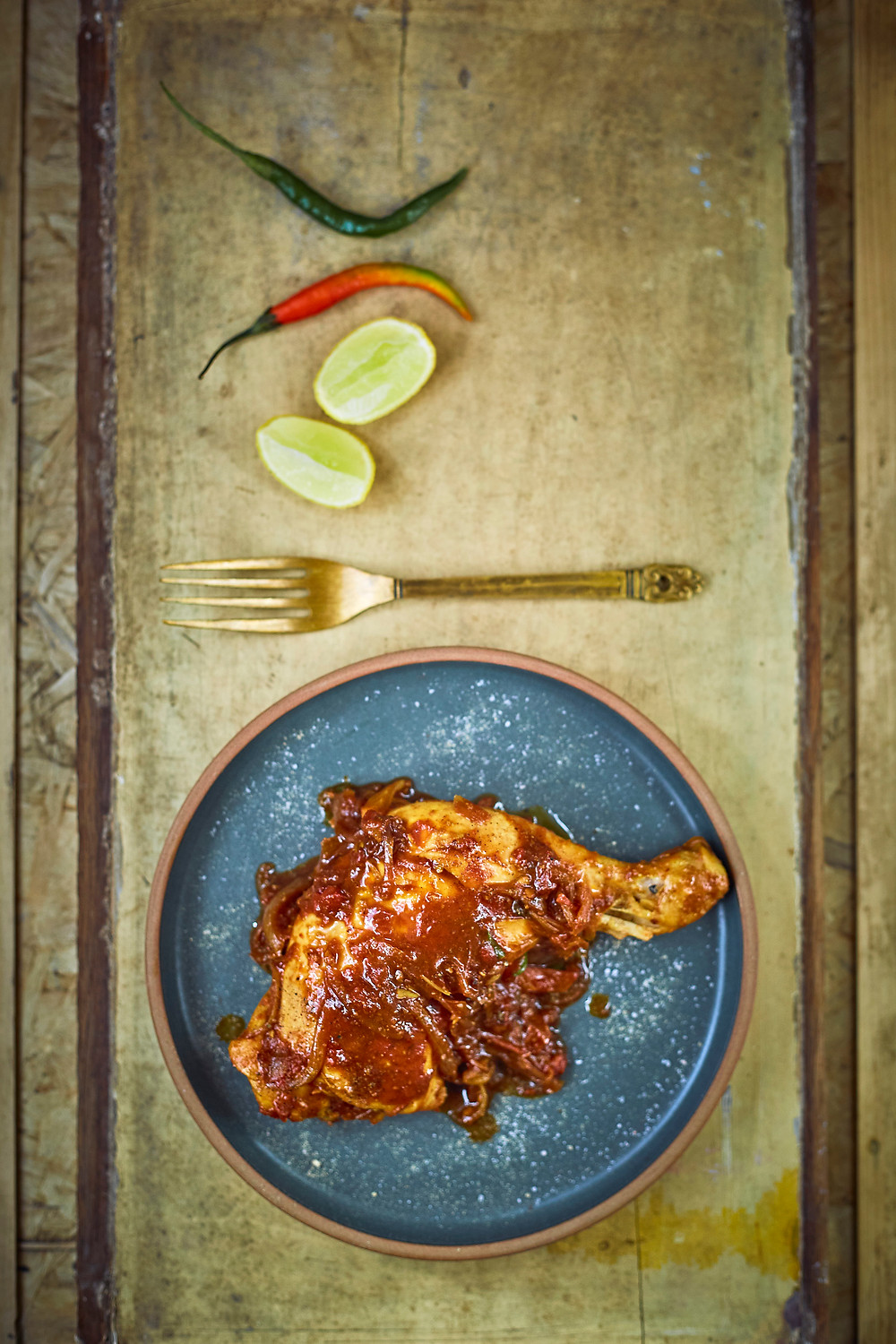 food photography and styling of chicken curry