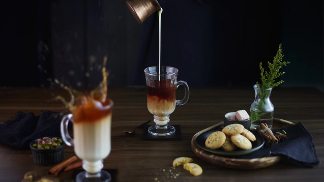 Collaboration with Styling: Nitin Tondon Studios, Mumbai, India.  Food photography | cinemagraph | Product styling | Stop Motion Animation | chai latte | coffee | beverage