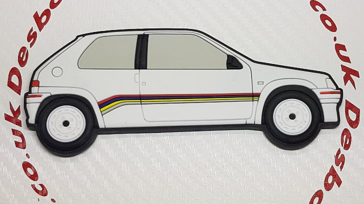 Peugeot 106 Fridge Magnet Phase 1 Rallye White