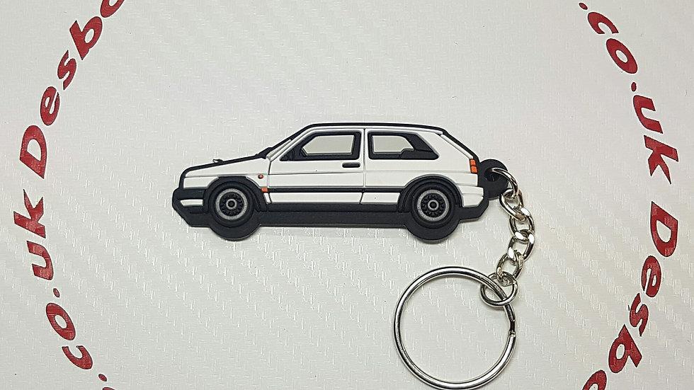 VW Golf GTI Mk2 Key Ring White