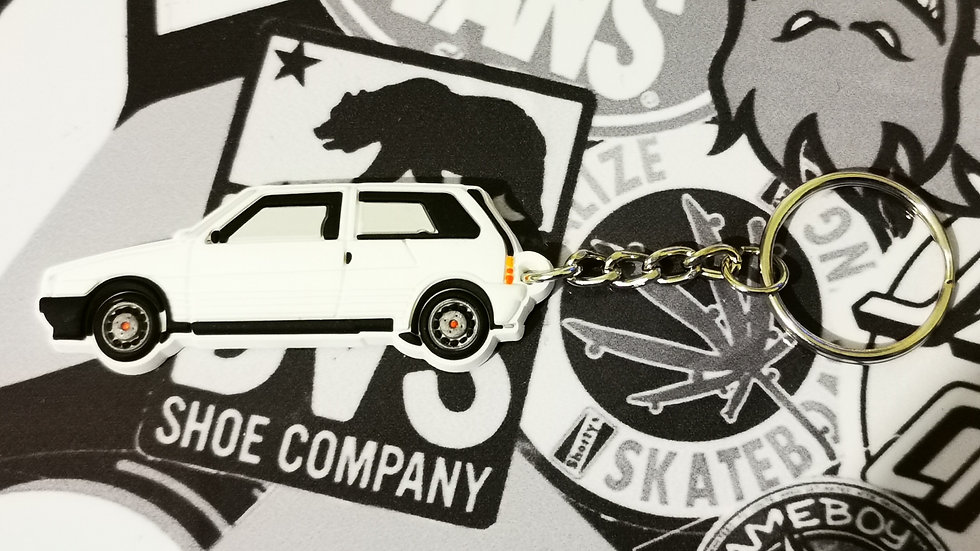 Fiat Uno Turbo Key Ring White
