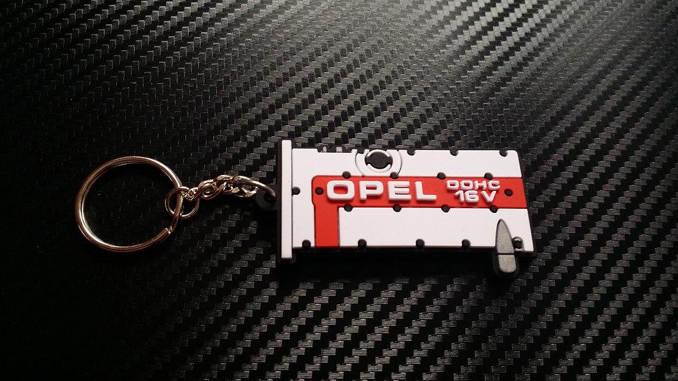 "Opel C20XE Rocker Cover Key Ring ""White/Red"""