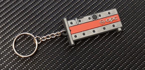 Opel Z20LET Rocker Cover Key Ring - Red / Silver