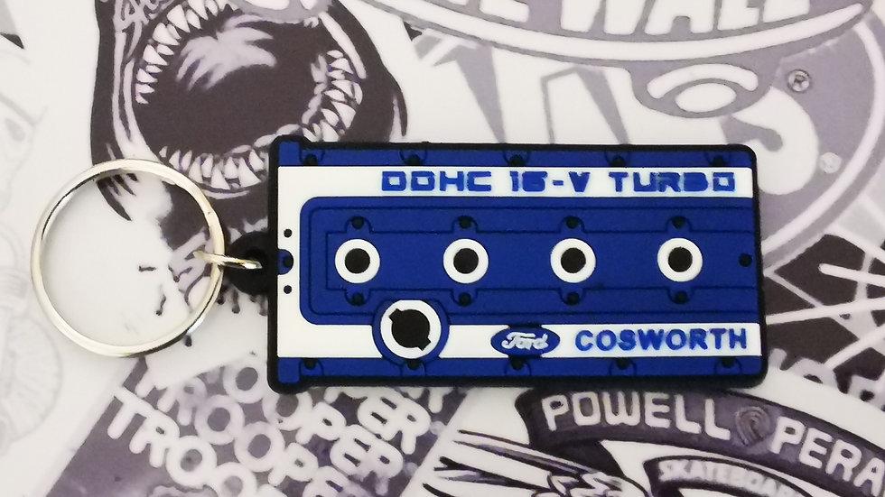 "Cosworth YB Rocker Cover Key Ring ""Blue"""