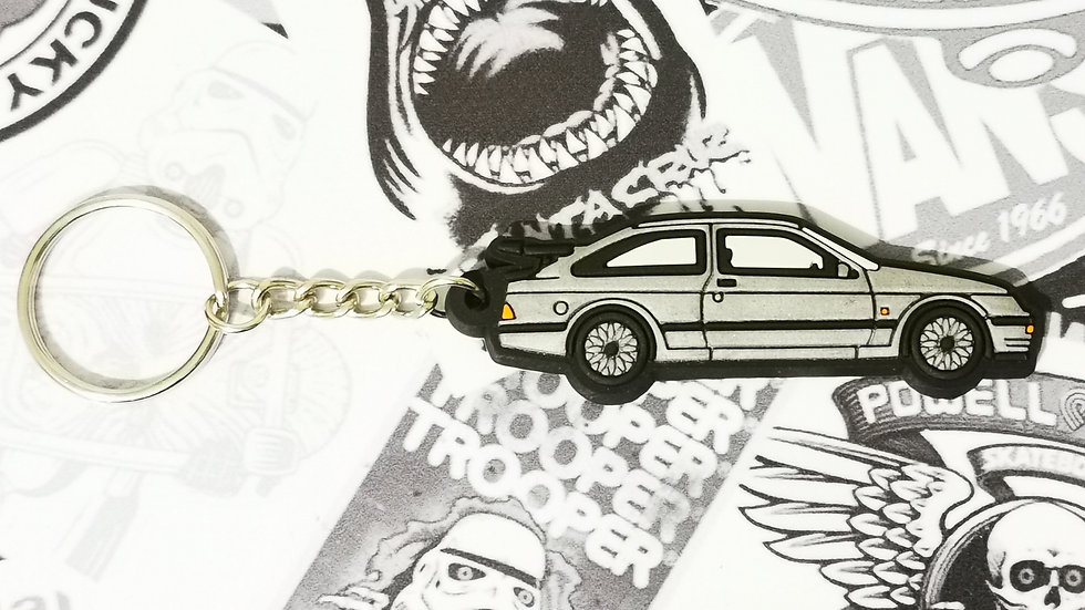 Ford RS 500 Cosworth Key Ring Silver