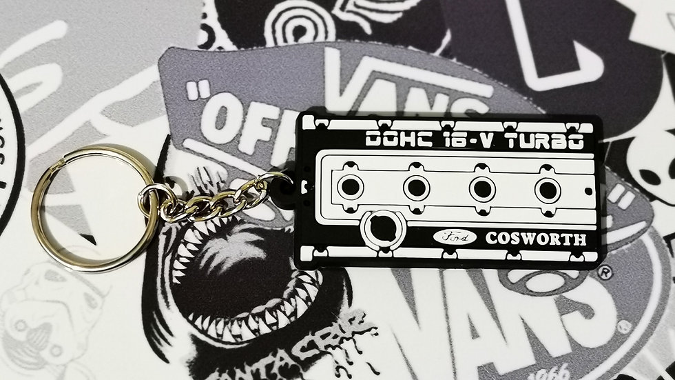 "Cosworth Rocker YB Cover Key Ring ""White / Black"""