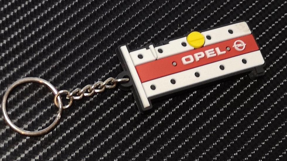 """Opel Z20LET Rocker Cover Key Ring - """"OPEL"""" White /Red"""