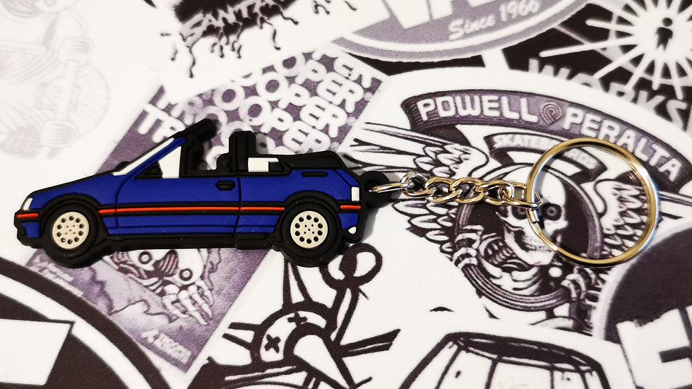 Peugeot 205 CTI Car Key Ring Miami Blue