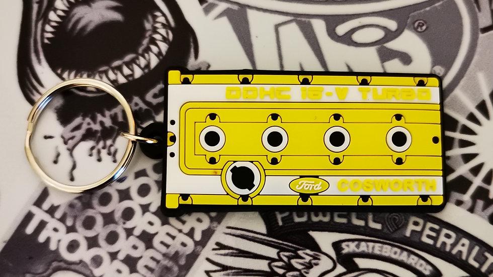 "Cosworth YB Rocker Cover Key Ring ""Yellow"""