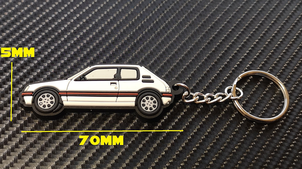 Peugeot 205 GTI Car Key Ring White