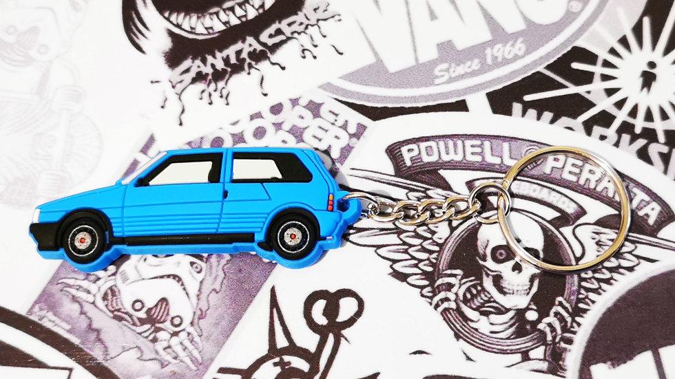 Fiat Uno Turbo Key Ring Blue