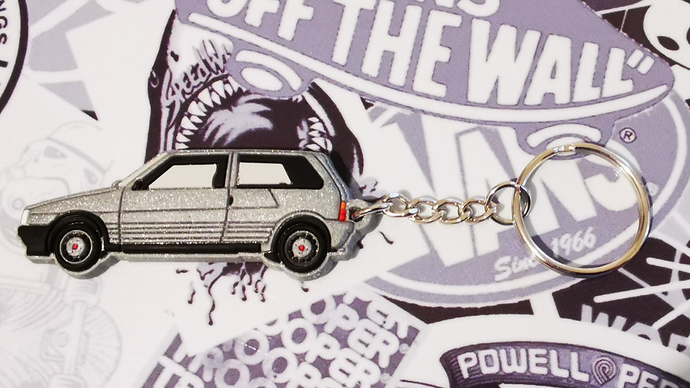 Fiat Uno Turbo Key Ring Silver
