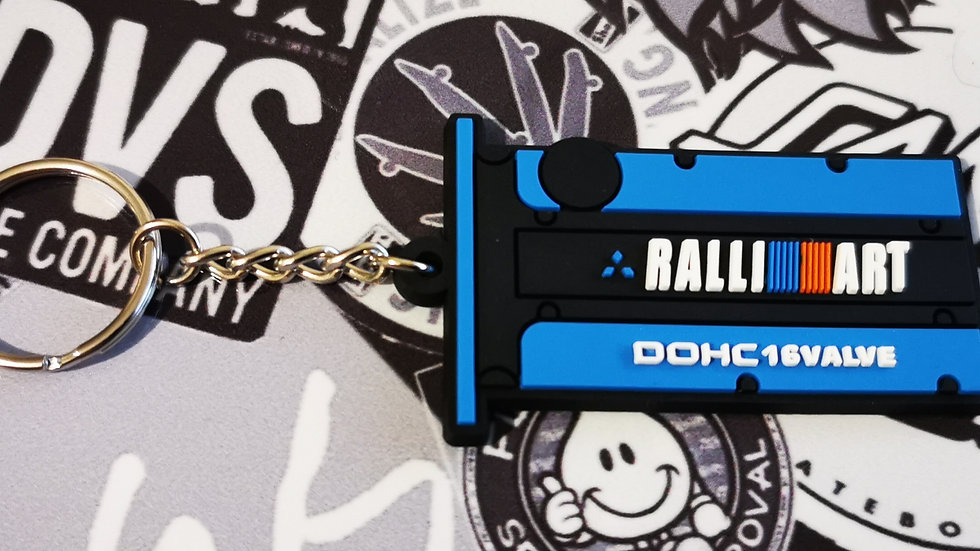 Mitsubishi Ralli Art Key Ring Blue