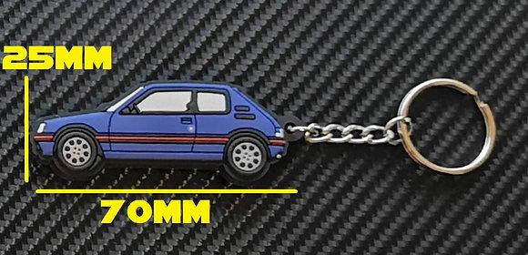 Peugeot 205 GTI Car Key Ring Miami Blue