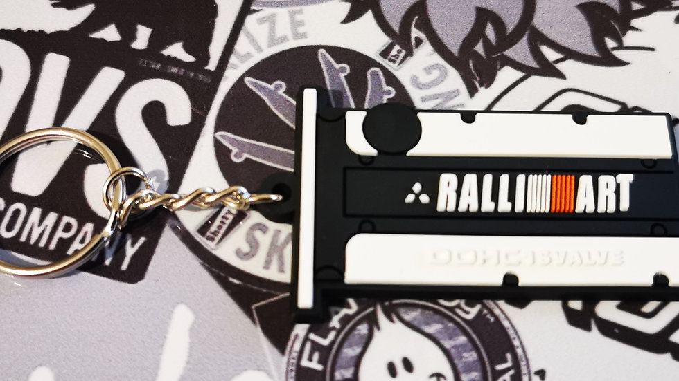 Mitsubishi Ralli Art Key Ring White