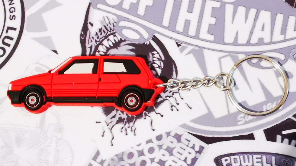 Fiat Uno Turbo Key Ring Red