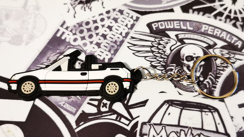 Peugeot 205 CTI Car Key Ring White