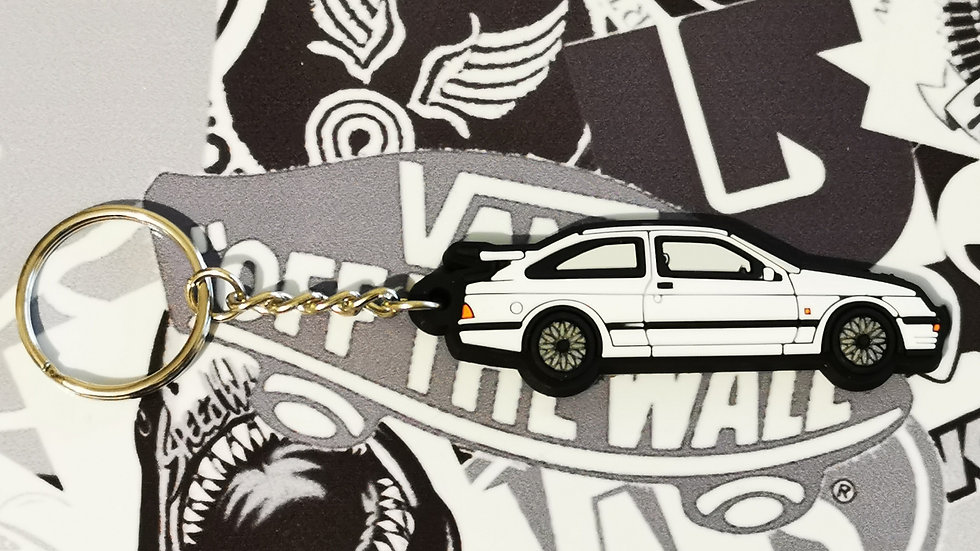Ford RS 500 Cosworth Key Ring White