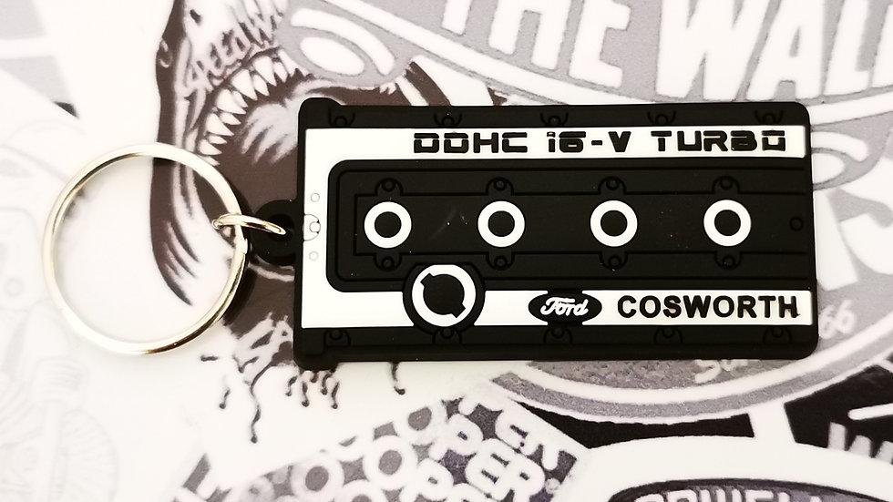 "Cosworth YB Rocker Cover Key Ring ""Black"""