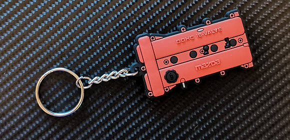 Mazda MX5 Rocker Cover Key Ring Red
