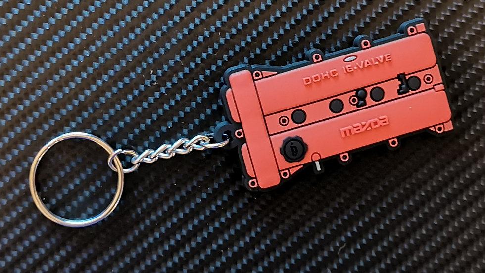 Mazda MX5 Rocker Cover Key Ring Red
