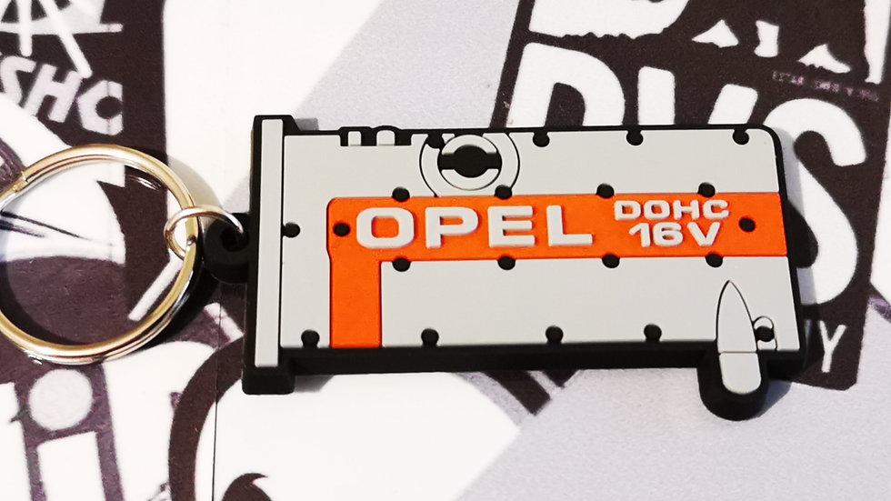 """Opel C20XE Rocker Cover Key Ring """"Silver/Red"""""""