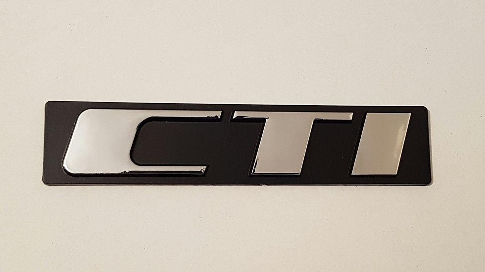 "Peugeot CTI Reproduction Rear Badge ""Chrome"""
