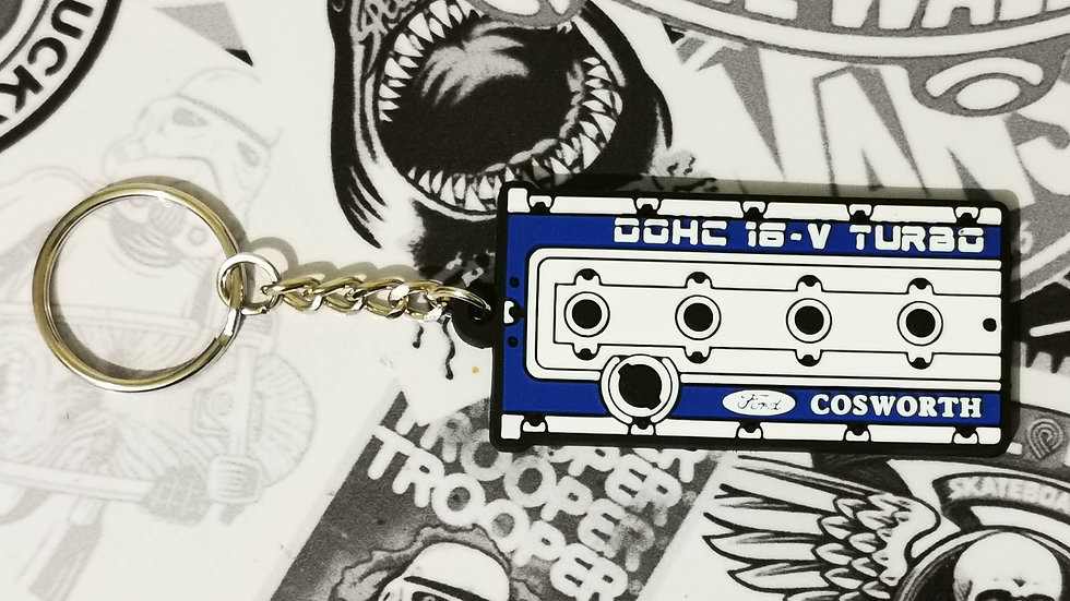 "Cosworth Rocker Cover Key Ring ""White / Blue"""