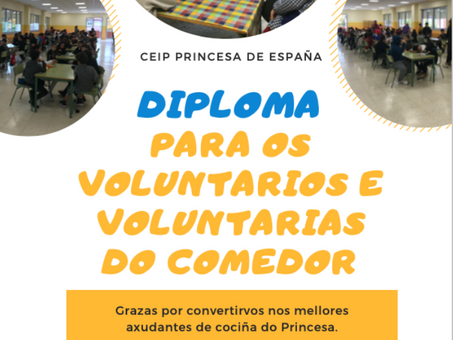 Diploma para os voluntarios e voluntarias do comedor