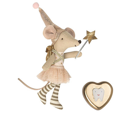 Tooth fairy girl with metal heart
