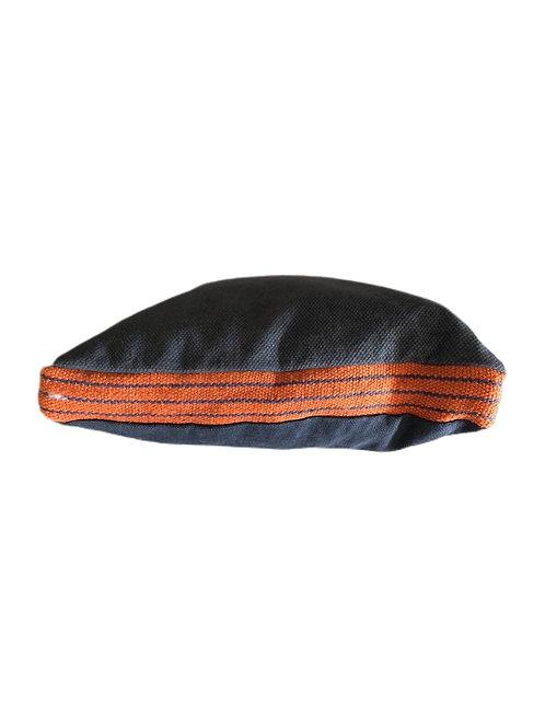Basic Kissen mit Streifenbordüre, Grau/Orange